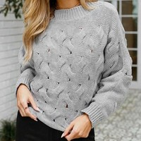 O-Neck Sweater Women Vintage Kintted Sweater Gray Solid Women Sweaters Pullovers Casual Knitwear