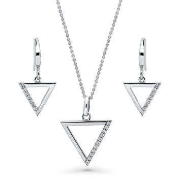 Sterling Silver CZ Triangle Necklace and Earrings SetBe the first to write a reviewSKU# vs545-01