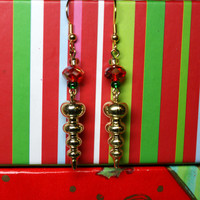 Beautiful Gold Christmas Earrings Ornament Dangles with Faceted Bead Accents Holiday Jewelry