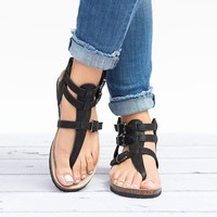 Gladiator Footbed Sandals - Black