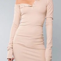 Khaki One Shoulder Long Sleeve Ribbed Bodycon Dress
