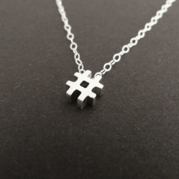 Hashtag Necklace, Trendy Symbol Necklace, Sterling Silver