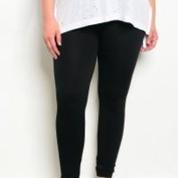 Plus Size Fleece Leggings (Black)