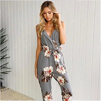 Print Sleeveless V-Neck Strappy Romper Jumpsuit
