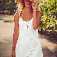 Spaghetti Strap Wrapped Dress with Tassels