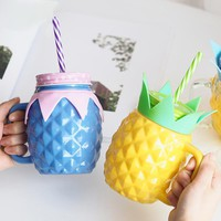 Pineapple Glass Mason Jar Cup Mug Cover With Hole And Straw Eco Friendly Beverage Bottle