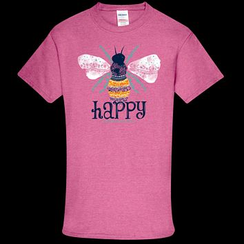 Southern Couture Soft Collection Bee Happy front print T-Shirt