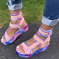 Women's high-top color snake-like fish mouth increased velcro sandals