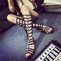 Summer Stylish Zippers Roman Style Sandals = 4814685892