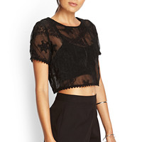 Sheer Embroidered Crop Top