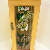 Vintage upcycled jewelry box holder shabby cottage country chic mellow yellow -- under 20