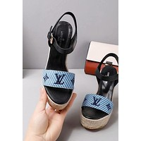 Louis Vuitton LV Trending Women Stylish Princess High Heels-Heeled Shoes Sandals Blue