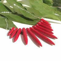 New - red stone spike necklace - howlite and sterling silver - chevron necklace - bib - quality  statement