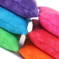 Bean Bag Rainbow Green Blue Purple Pink Red Orange Bright Childs Toy Homeschool Rice-filled Bean Bags (set of 6) - US Shipping Included