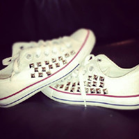 Studded Converse shoes with studs on the outside. High Tops or Low Tops. Every pair is unique and custom made