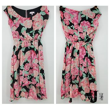 Candies Womens Dress Size Small Black Pink Green Floral Sleeveless, Small