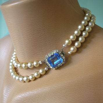SAPPHIRE AND PEARL Necklace, Periwinkle Blue, Great Gatsby, Art Deco, Blue Rhinestone Choker, Vintage Bridal, Pearl Choker, Jewelcraft