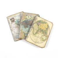 Set of 3 Travel Notebooks, Passport Size Travel Journal Refills, Altered Map Journals, Notebook Refills, Assorted Antique Map Jotters