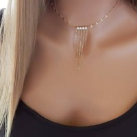 Jewelry Shiny Gift New Arrival Stylish Pearls Tassels Chain Necklace [101544591375]