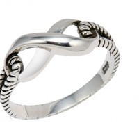 .925 Sterling Silver Antique Finish Infinity Ring