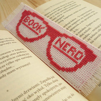 Cross stitch bookmark - Book Nerd, embroidered bookmark, gift for readers, book lover