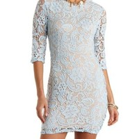 Lt Blue Backless Lace Bodycon Dress by Charlotte Russe