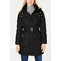 Calvin Klein Faux-Fur-Lined-Collar Hooded Belted Puffer Coat.