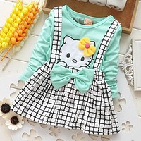 Cute Girls Hello Kitty Korean Kids Clothes Baby Newborn Gress Toddler Girl Grid Straps Dress Long Sleeve 100% Cotton