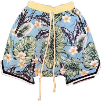 Light Blue Floral Print BasketBall Shorts w/ Extended Drawstring