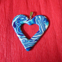 polymer clay jewelry,polymer clay necklace,polymer clay pendant,heart pendant,turquoise heart,christmas gift for her,romantic gifts,unique