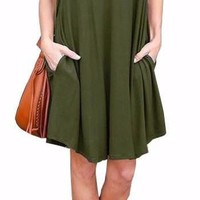 Women's Olive Green Casual V-Neck Loose Shift Summer Dress with Pockets
