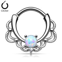 Stainless Steel Lacey Single Opal 16g Septum Clicker - Choose Blue, White, Pink or Purple Synthetic Opal (White)