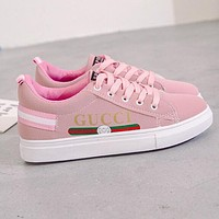 GUCCI Trending Women Casual Flat Sport Shoes Sneakers Pink