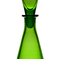 Small Green Decanter and Shot Glass, Antique English, Early 1900s
