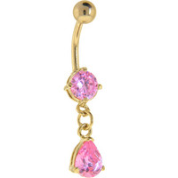 24KT Gold Plated Pink SOLITAIRE TEARDROP Dangle Belly Ring   Body Candy Body Jewelry
