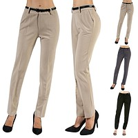 Women's Classic Woven Career Slim Trouser Pleated Pants with Belt