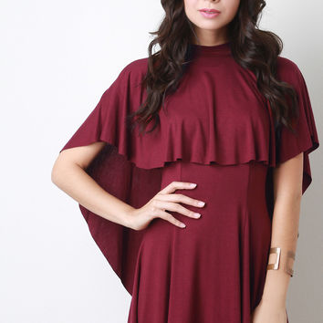Double Tier Cape Skater Dress