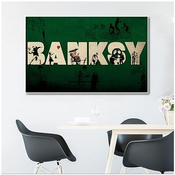 BANKSY Letter Graffiti Pray Canvas Painting Wall Pictures For Living Room Home Decor Modern Wall Art Posters And prints|Painting & Calligraphy