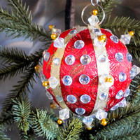 Christmas Ornament, Red Ball with Gold & Silver Accents in Gift Box, Handmade Fabric Tree Decoration, Hostess Present, Holiday Decor, Boxed