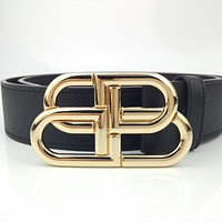 Balenciaga buckle double B logo smooth buckle belt