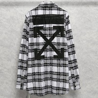 OFF-WHITE 2019 new men and women models wild ruined edging plaid shirt white