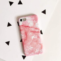 Fashion pink marble phone case for iPhone 7 7plus 6 6S 6plus 6Splus 1107JM01
