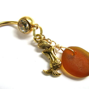 Gold Titanium, Mermaid and Sea glass Belly Ring