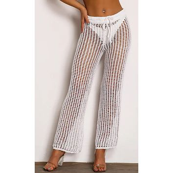 See Right Through You Sheer Crochet Mesh Cut Out Drawstring Waist Loose Wide Leg Pants - 3 Colors Available