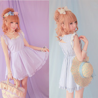 Purple/ Blue Vertical Stripe With Bow On Back Dress Free Ship SP140937