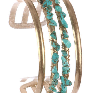 """7.75"""" gold turquoise wire wrapped boho cuff bracelet bangle 1"""" wide"""