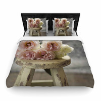 """Cristina Mitchell """"Roses on Stool"""" Floral Photography Woven Duvet"""