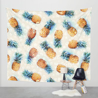 Pineapples + Crystals Wall Tapestry by Micklyn