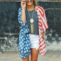 2017 Women Fashion Top Loose Female American Flag Printed Kimono Pretty Blouse Casual Three Quarter Sleeve Summer All Match
