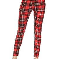 Fall Women's Christmas Classic Plaid Brushed Ankle Leggings